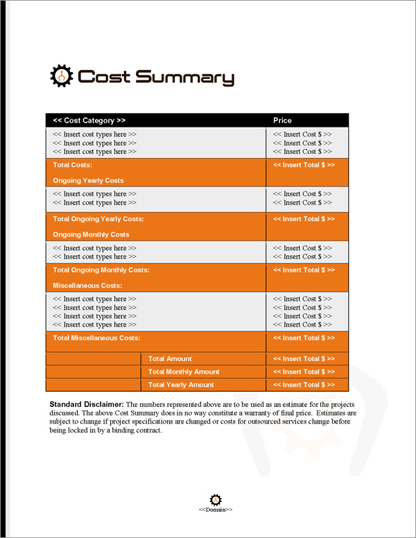 Proposal Pack Robotics #2 Cost Summary Page