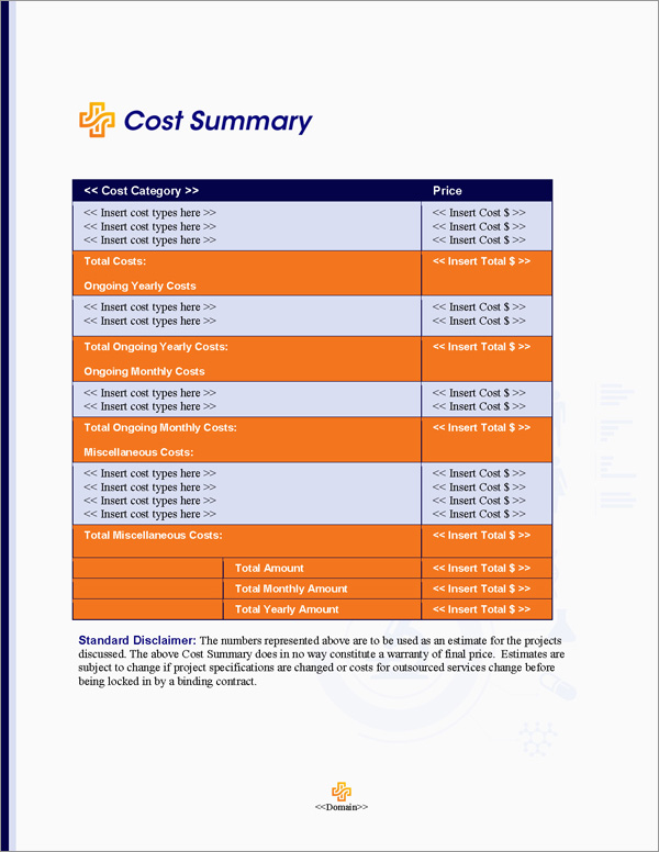 Proposal Pack Healthcare #5 Cost Summary Page