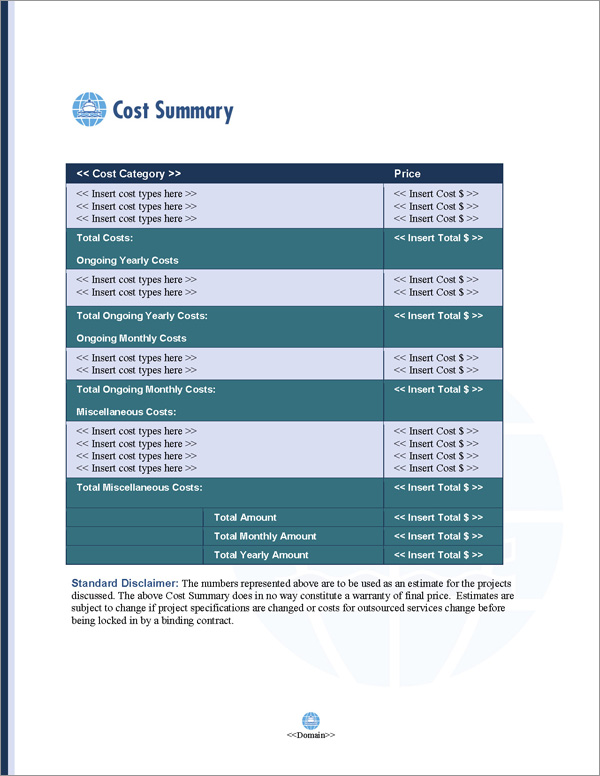Proposal Pack Transportation #7 Cost Summary Page