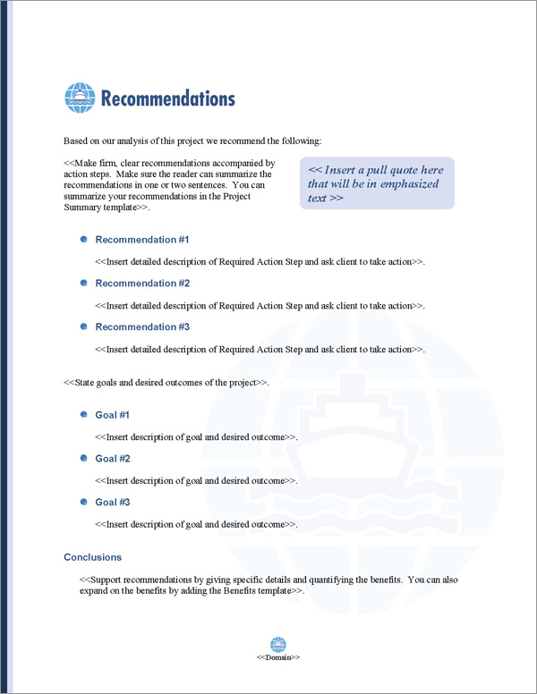 Proposal Pack Transportation #7 Recommendations Page