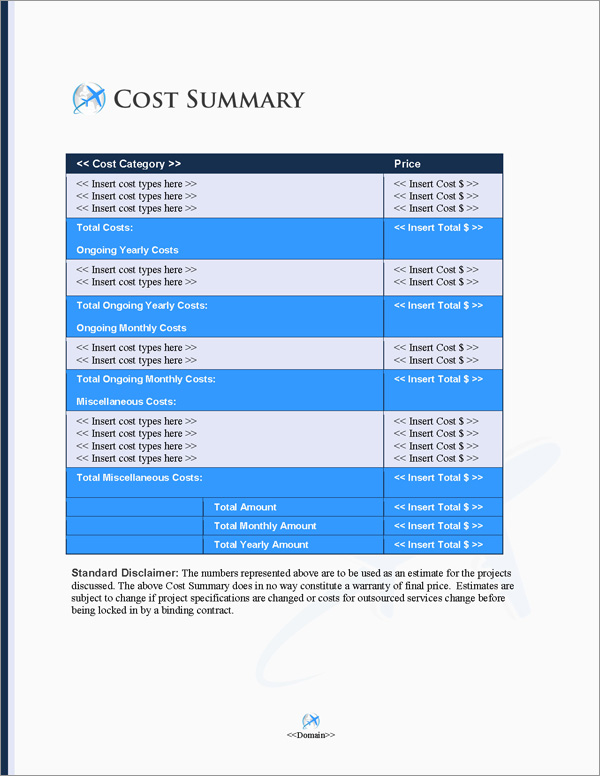 Proposal Pack Transportation #8 Cost Summary Page