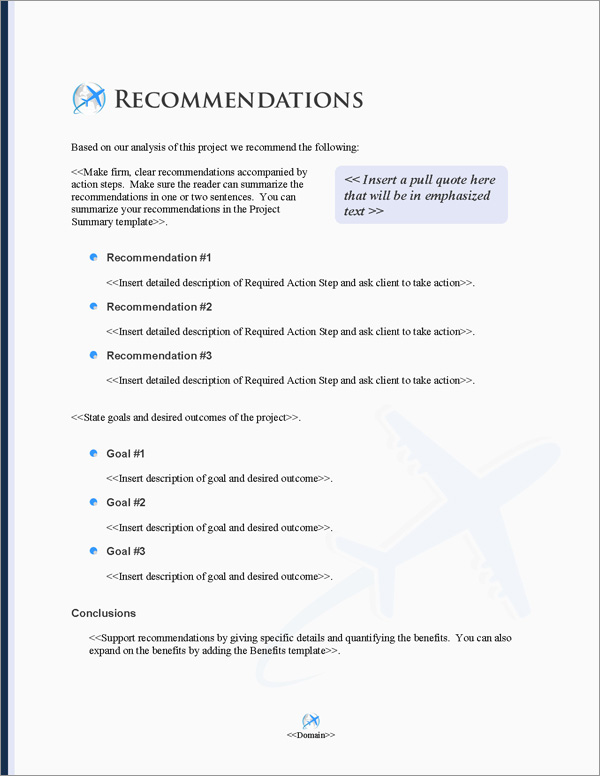 Proposal Pack Transportation #8 Recommendations Page