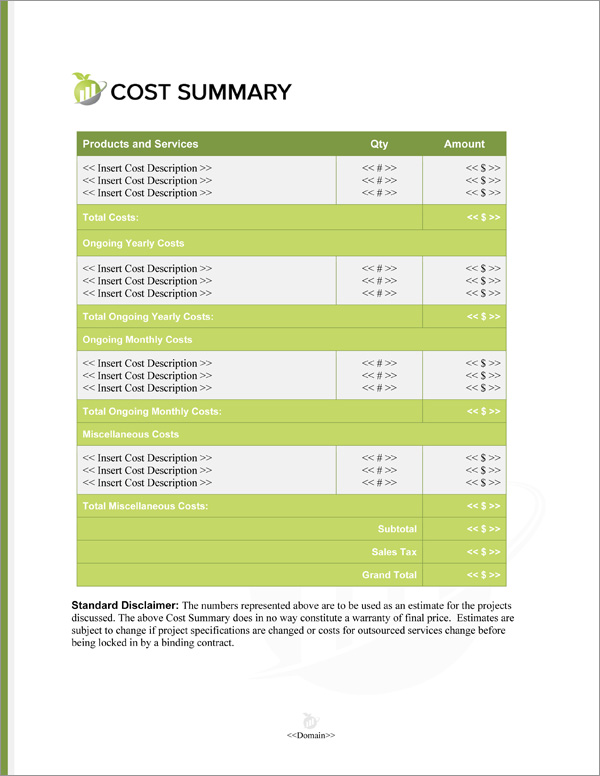 Proposal Pack Accounting #2 Cost Summary Page