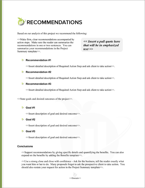 Proposal Pack Accounting #2 Recommendations Page