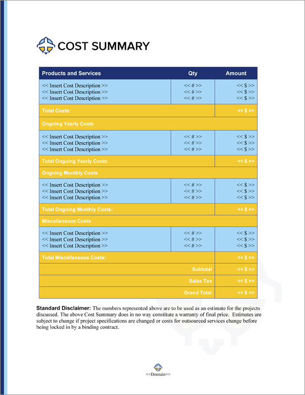 Proposal Pack Aerospace #3 Cost Summary Page