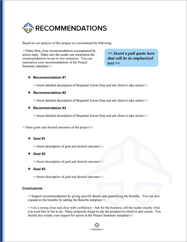 Proposal Pack Aerospace #3 Recommendations Page