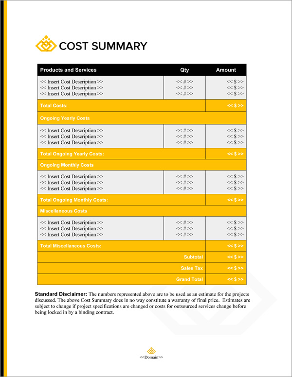 Proposal Pack Business #20 Cost Summary Page