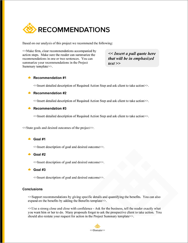 Proposal Pack Business #20 Recommendations Page