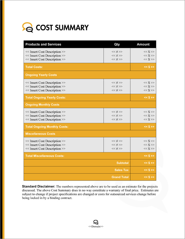 Proposal Pack Communication #3 Cost Summary Page