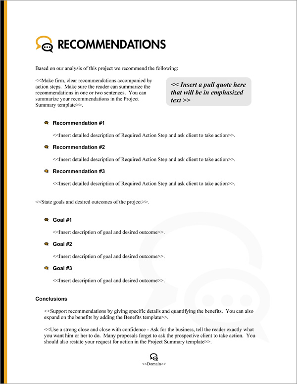 Proposal Pack Communication #3 Recommendations Page