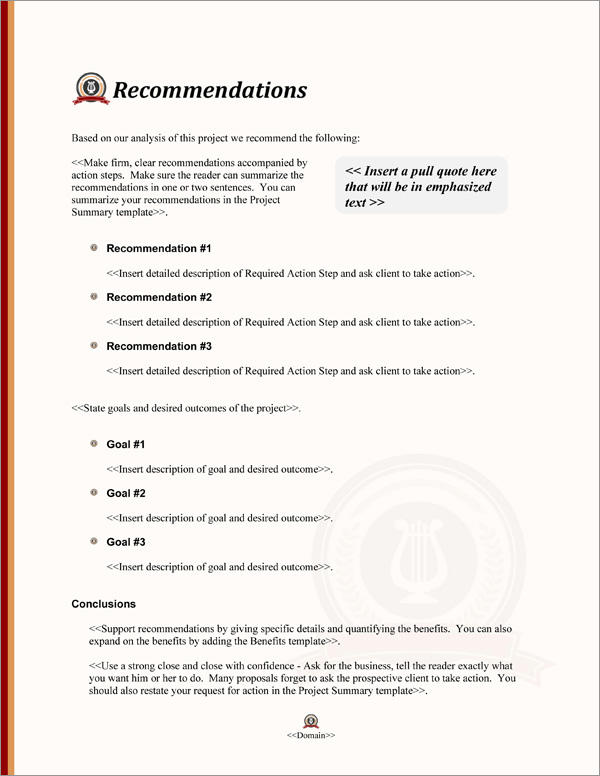 Proposal Pack Education #4 Recommendations Page