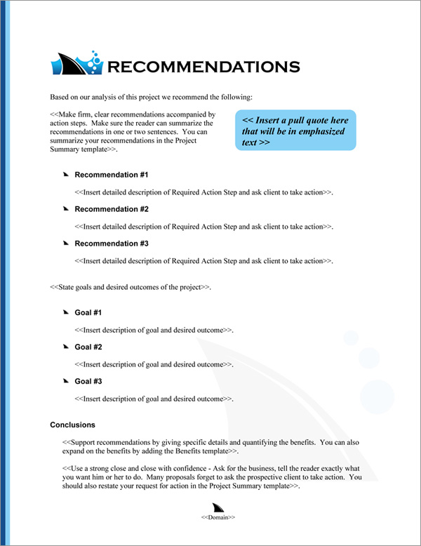 Proposal Pack Business #21 Recommendations Page