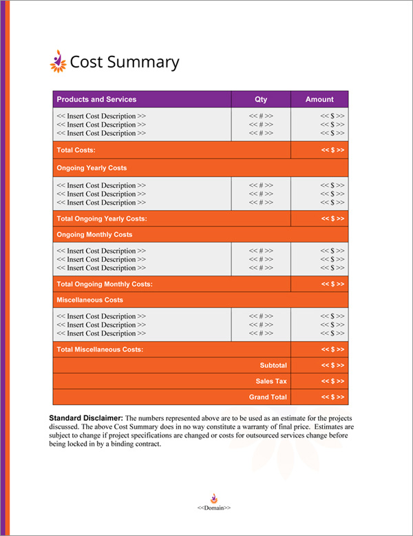 Proposal Pack Contemporary #17 Cost Summary Page