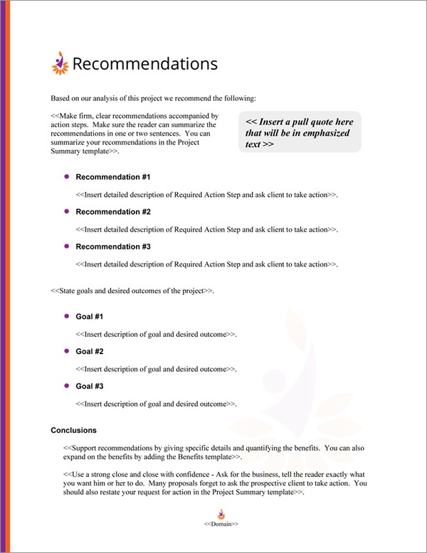 Proposal Pack Contemporary #17 Recommendations Page
