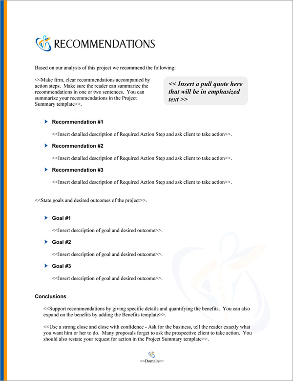 Proposal Pack Healthcare #6 Recommendations Page