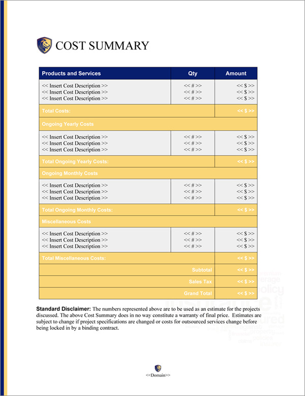 Proposal Pack Insurance #1 Cost Summary Page