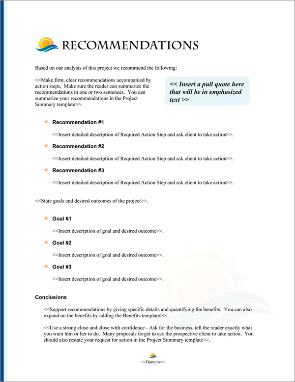 Proposal Pack Nature #7 Recommendations Page
