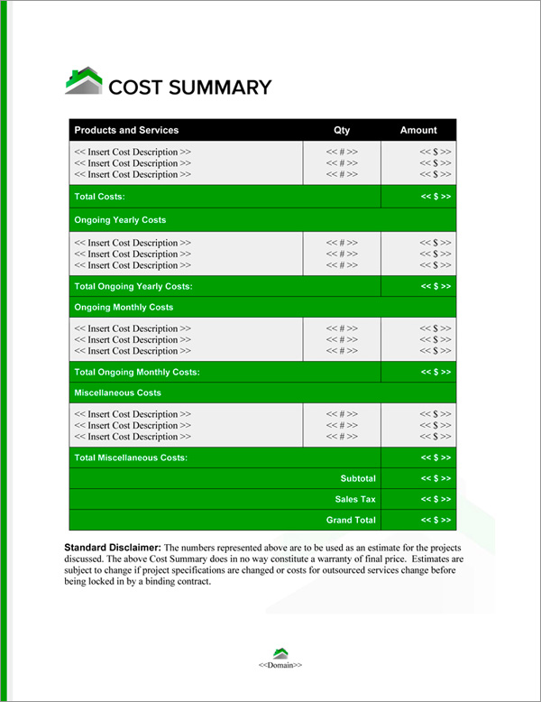 Proposal Pack Real Estate #6 Cost Summary Page