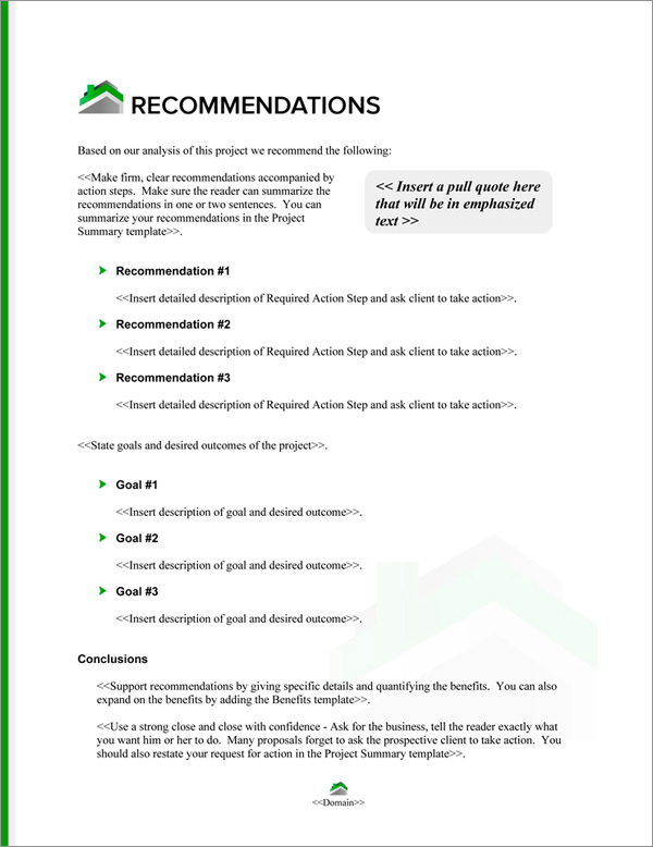 Proposal Pack Real Estate #6 Recommendations Page