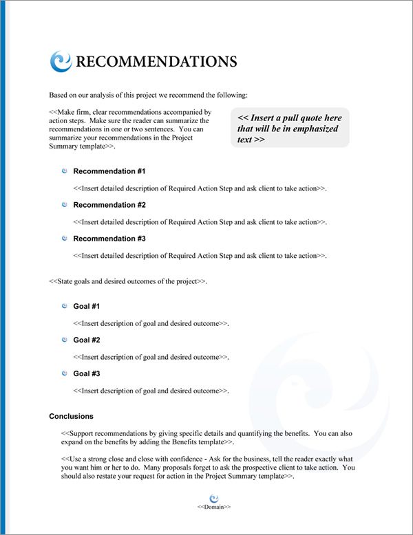Proposal Pack Elegant #5 Recommendations Page