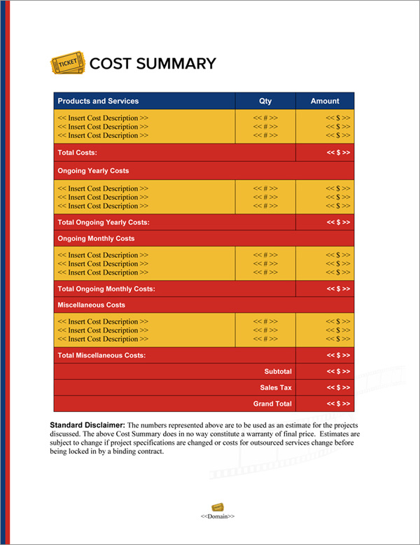 Proposal Pack Entertainment #8 Cost Summary Page