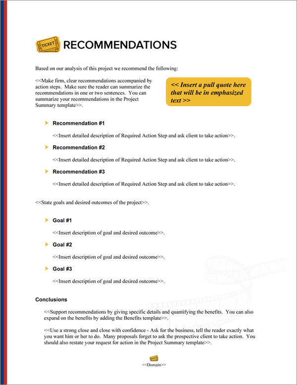Proposal Pack Entertainment #8 Recommendations Page