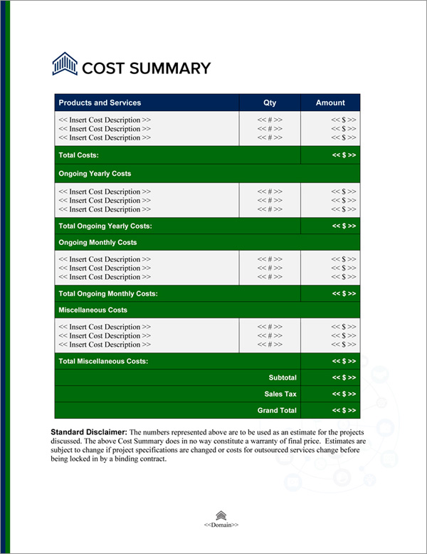 Proposal Pack Financial #5 Cost Summary Page