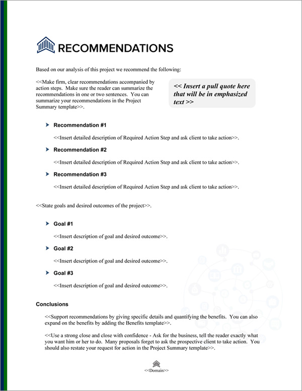 Proposal Pack Financial #5 Recommendations Page