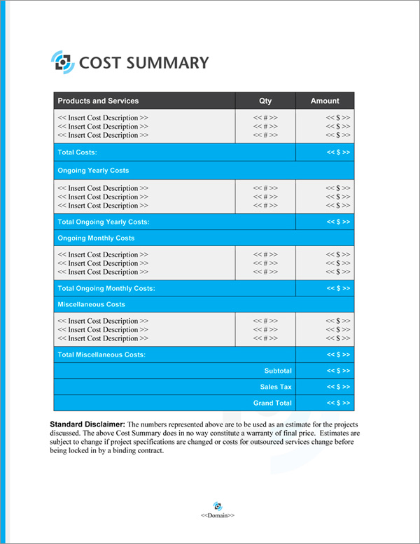 Proposal Pack Multimedia #5 Cost Summary Page