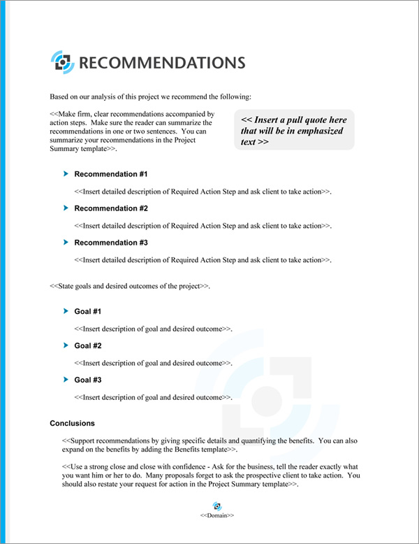 Proposal Pack Multimedia #5 Recommendations Page