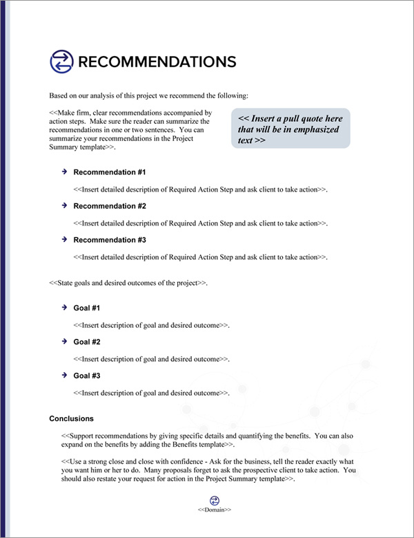 Proposal Pack Communication #4 Recommendations Page