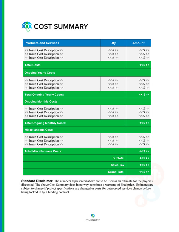Proposal Pack Insurance #2 Cost Summary Page