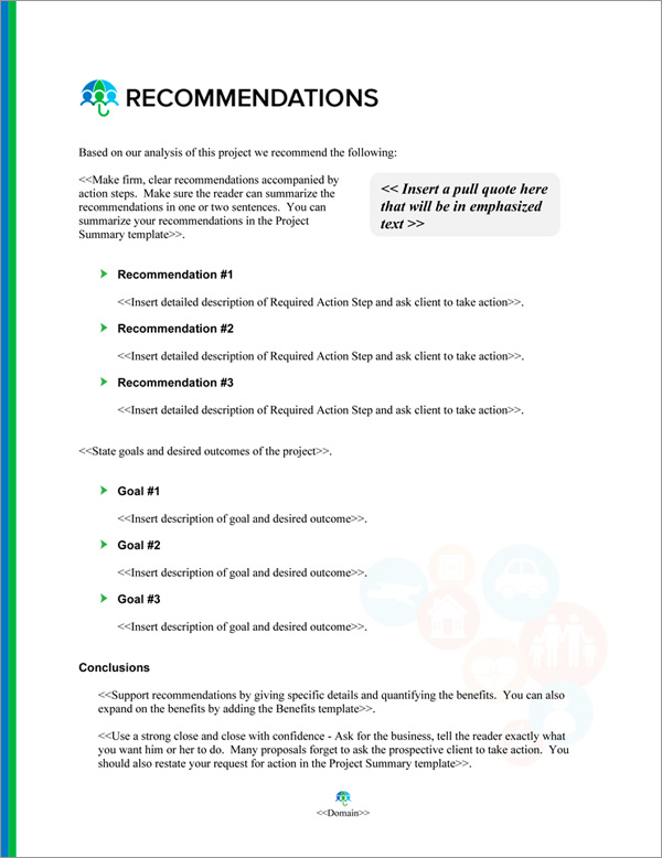 Proposal Pack Insurance #2 Recommendations Page