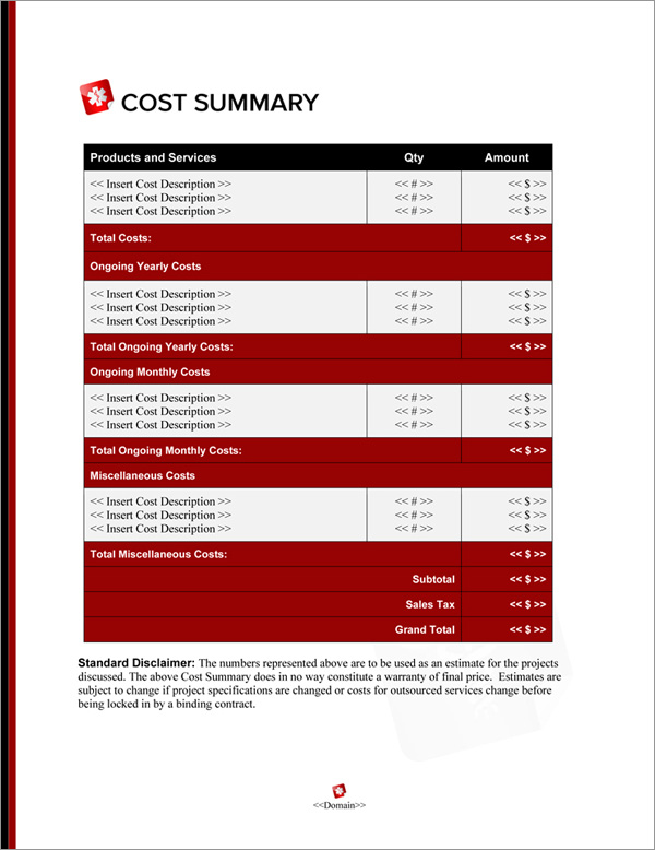 Proposal Pack Medical #8 Cost Summary Page