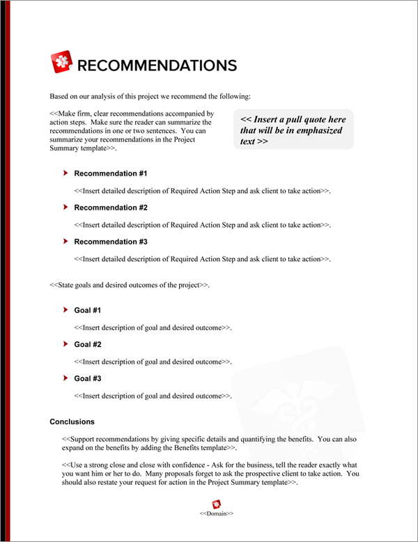 Proposal Pack Medical #8 Recommendations Page