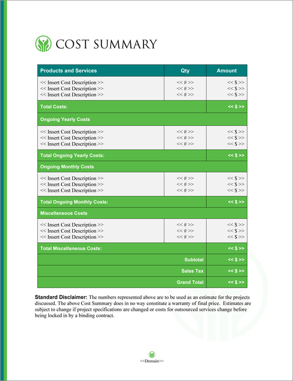 Proposal Pack Healthcare #7 Cost Summary Page