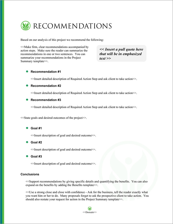 Proposal Pack Healthcare #7 Recommendations Page