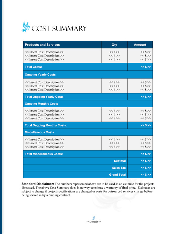 Proposal Pack Spiritual #3 Cost Summary Page