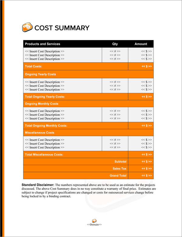 Proposal Pack Computers #7 Cost Summary Page