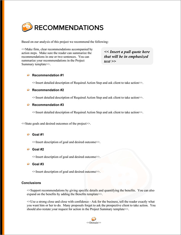 Proposal Pack Computers #7 Recommendations Page