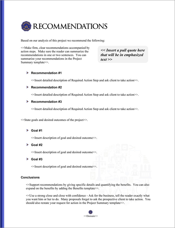 Proposal Pack Electrical #5 Recommendations Page