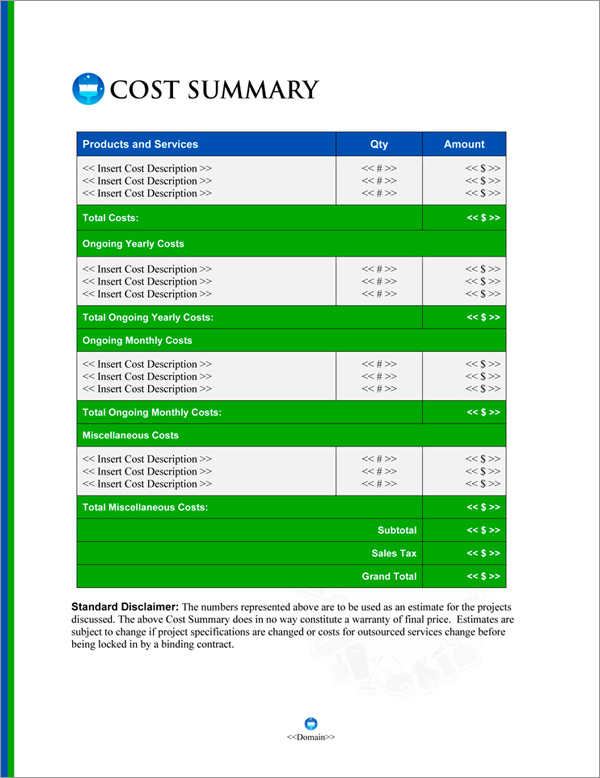 Proposal Pack Janitorial #4 Cost Summary Page
