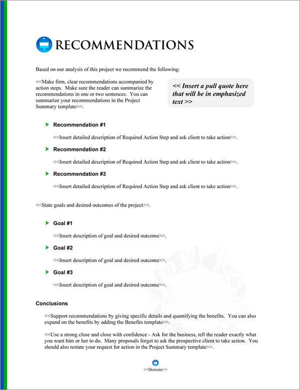 Proposal Pack Janitorial #4 Recommendations Page