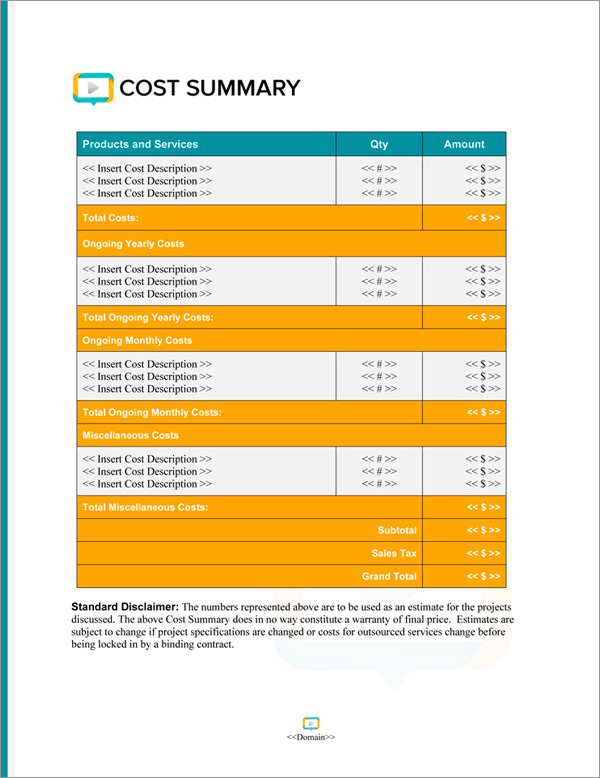 Proposal Pack Multimedia #6 Cost Summary Page