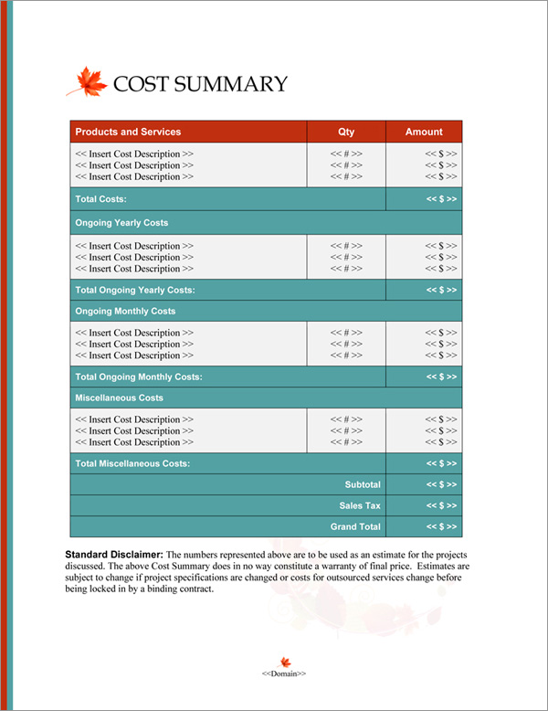 Proposal Pack Nature #8 Cost Summary Page