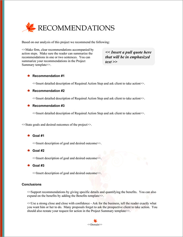 Proposal Pack Nature #8 Recommendations Page