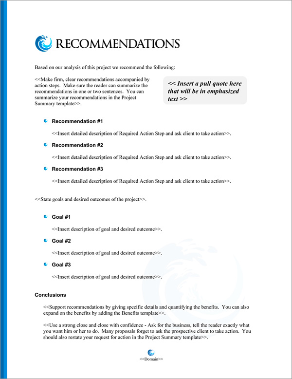Proposal Pack Aqua #8 Recommendations Page