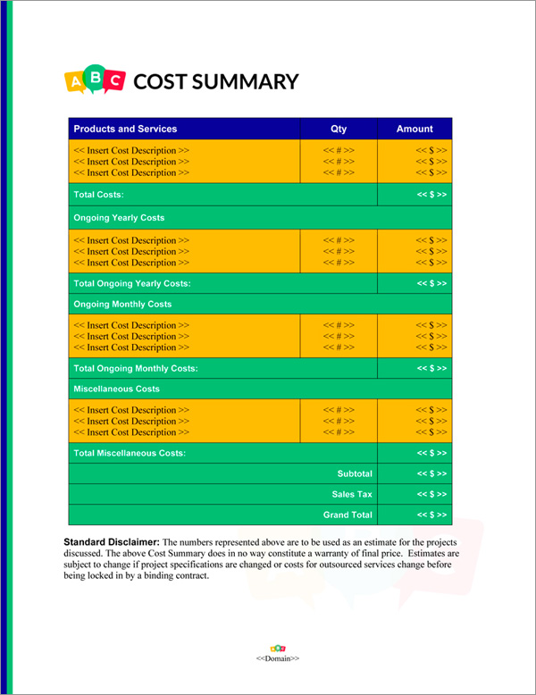 Proposal Pack Children #5 Cost Summary Page