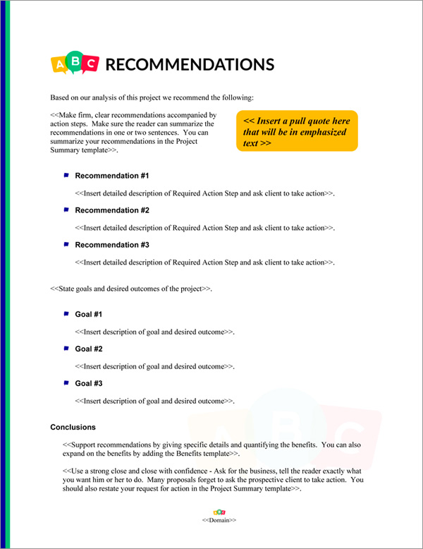 Proposal Pack Children #5 Recommendations Page