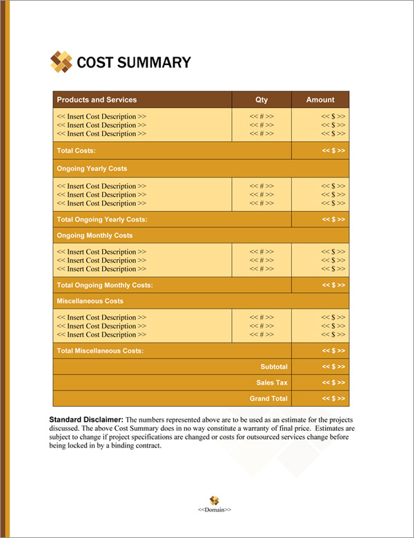 Proposal Pack Contemporary #20 Cost Summary Page
